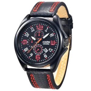 Спортивные часы «XINEW» с кварцевым механизмом и красивым чёрным ремешком фото. Купить