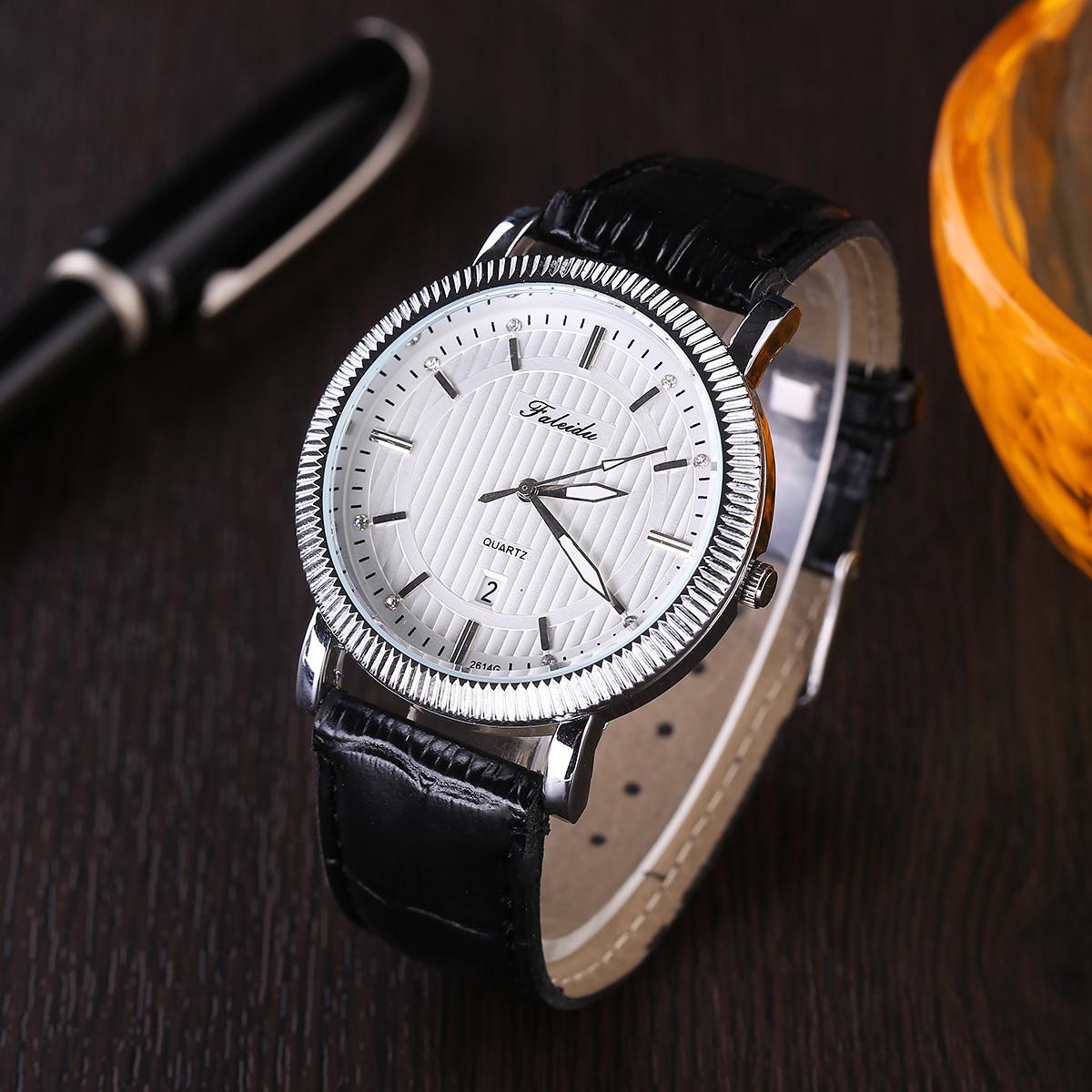 Мужские кварцевые часы «Faleidu» в деловом стиле с красивым серебристым корпусом и чёрным ремешком купить. Цена 330 грн