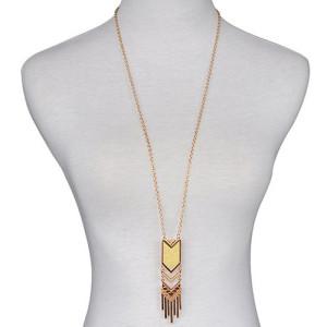 Золотистая подвеска «Шевроны» в виде длинной цепочки с продолговатым плоским кулоном купить. Цена 99 грн или 310 руб.