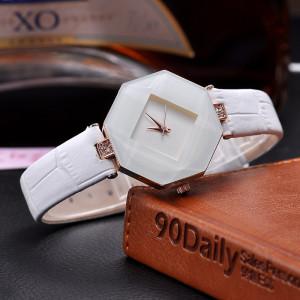 Ультрамодные наручные часы «Rownce» необычной формы с белым ремешком фото. Купить