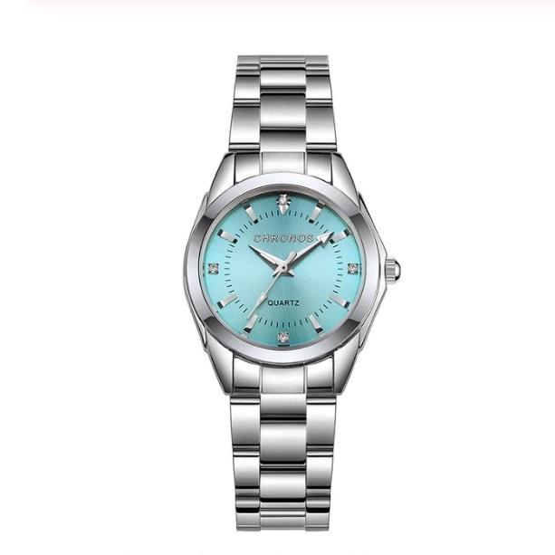 Лаконичные женские часы «Chronos» с голубым циферблатом и металлическим браслетом купить. Цена 840 грн