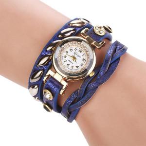 Невероятные часы «Quartz» с золотым корпусом и необычным синим ремешком фото. Купить