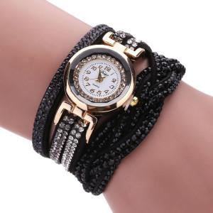 Нарядные часы «Duoya» с длинным мягким ремешком чёрного цвета со стразами фото. Купить
