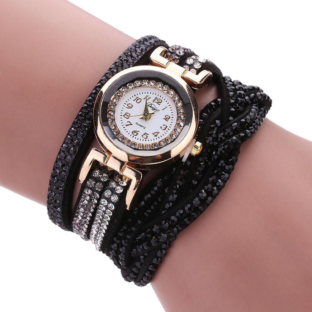 Нарядные часы «Duoya» с длинным мягким ремешком чёрного цвета со стразами купить. Цена 275 грн