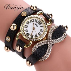 Современные часы «Duoya» с бесконечностью в стразах на длинном чёрном ремешке купить. Цена 199 грн