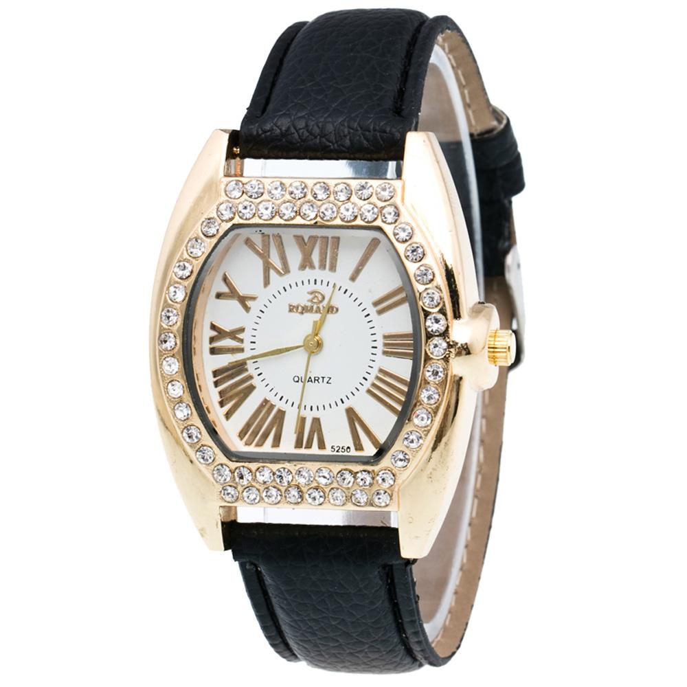 Массивные часы «Romand» с корпусом в форме бочки со стразами и чёрным ремешком купить. Цена 265 грн