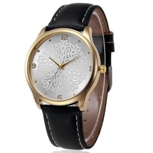 Лаконичные часы «Geneva» с изображением снежинки на серебристом циферблате фото. Купить