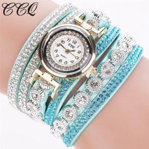 Очень красивые часы «CCQ» мятного цвета с длинным ремешком в стразах фото. Купить