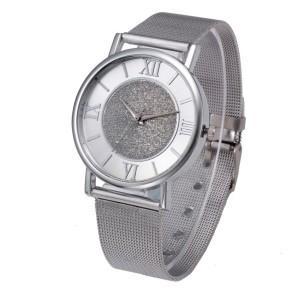 Классические женские часы «Geneva» серебрянного цвета с металическим ремешком-кольчугой фото. Купить