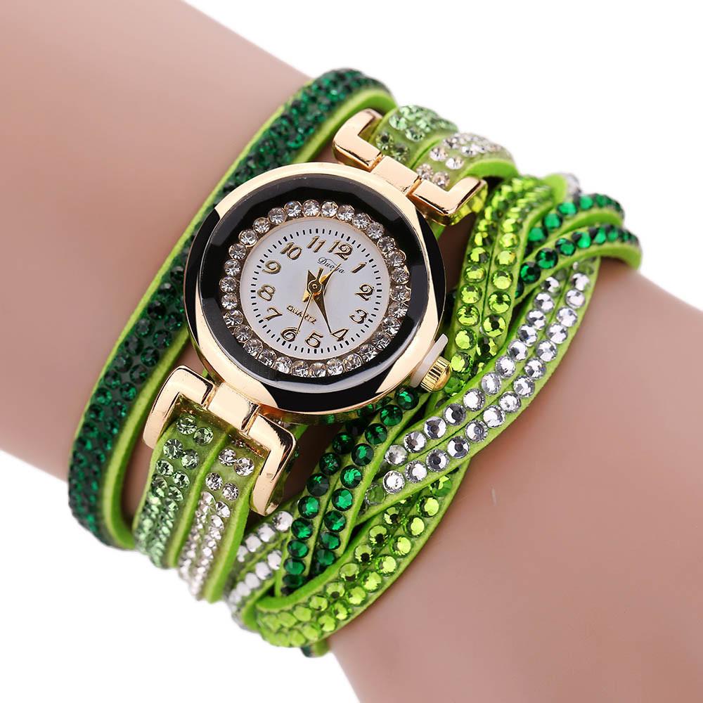 Ярко-зелёные часы «Duoya» с длинным многорядным ремешком из страз купить. Цена 275 грн