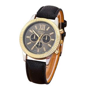 Сдержанные часы «Geneva» с двухцветным корпусом без страз и чёрным циферблатом купить. Цена 190 грн