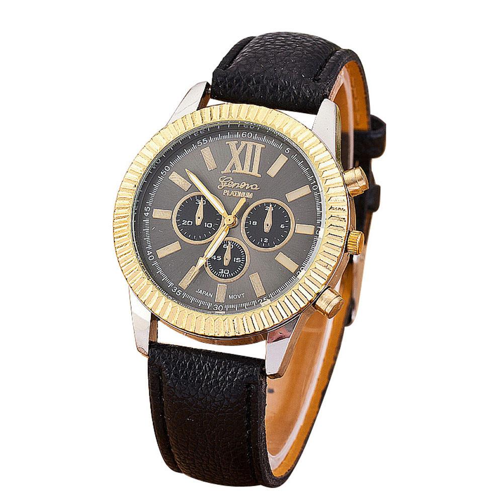 Сдержанные часы «Geneva» с двухцветным корпусом без страз и чёрным циферблатом купить. Цена 235 грн