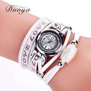 Белоснежные часы «Duoya» с ремешком красивого дизайна с надписью «Love» купить. Цена 235 грн