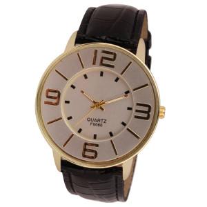 Отличные часы «Quartz» в деловом стиле с золотым корпусом без страз и чёрным ремешком купить. Цена 220 грн