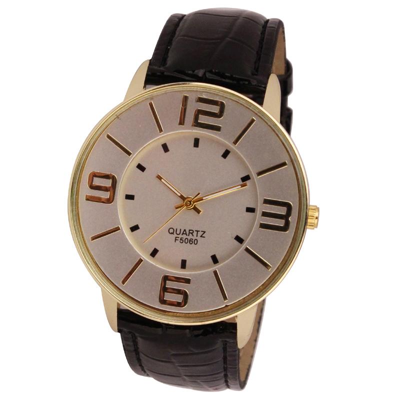 Отличные часы «Quartz» в деловом стиле с золотым корпусом без страз и чёрным ремешком купить. Цена 275 грн