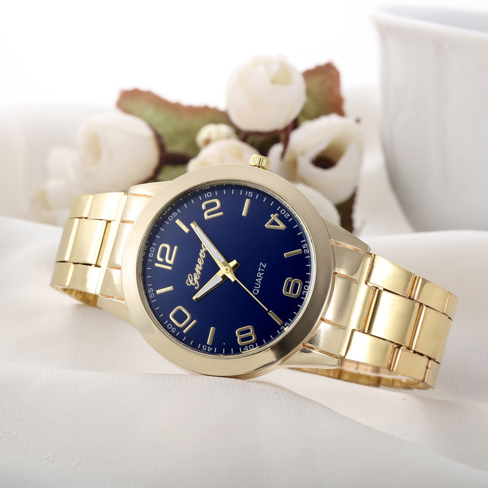 Сдержанные часы «Geneva» в классическом стиле с синим циферблатом и браслетом купить. Цена 299 грн