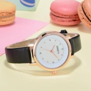 Нежные женские часы «Gaiety» круглой формы в корпусе золотого цвета и чёрным ремешком купить. Цена 235 грн