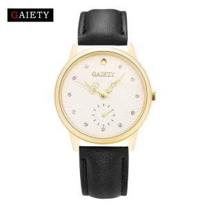 Благородные часы «Gaiety» с матовым корпусом золотого цвета и стильным циферблатом фото. Купить
