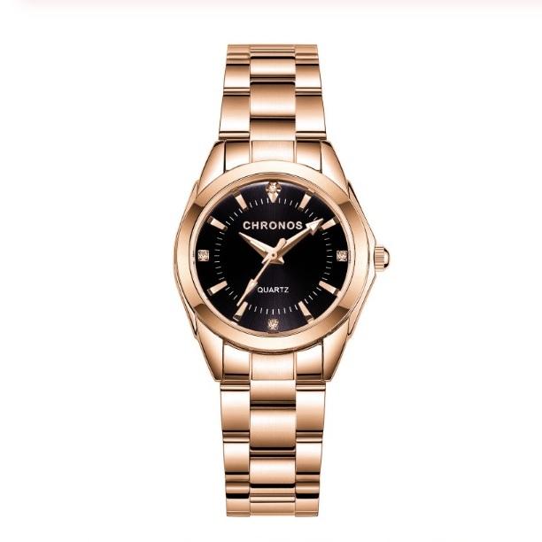 Стильные женские часы «Chronos» золотого цвета с чёрным циферблатом купить. Цена 880 грн