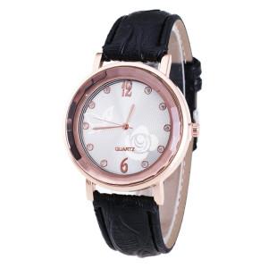 Красивые женские часы «Quartz» с кварцевым механизмом и чёрным ремешком фото. Купить