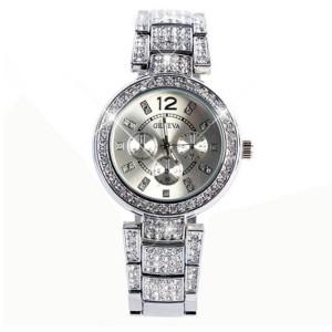 Шикарные металлические часы «Geneva» серебряного цвета с многочисленными стразами купить. Цена 399 грн