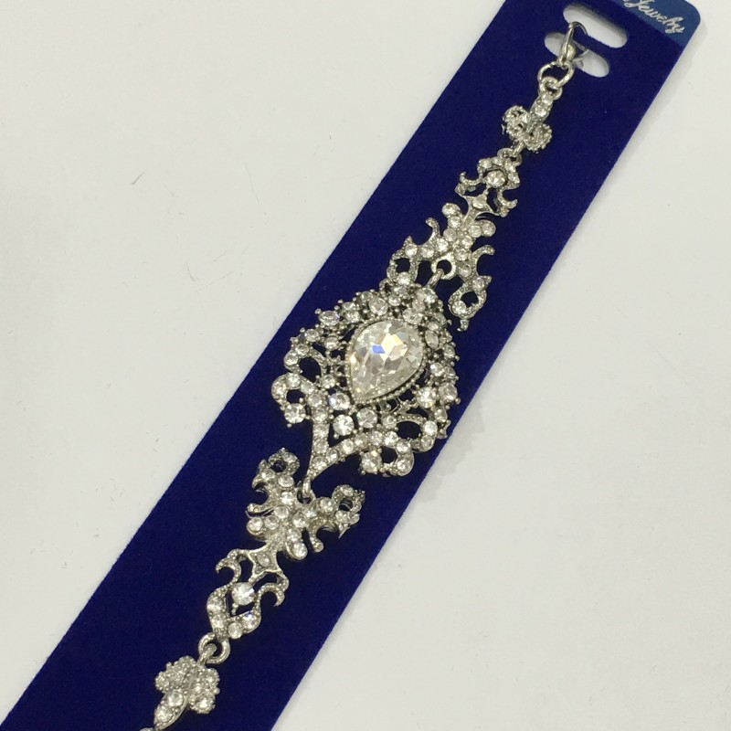 Красивый браслет «Регент в белом» с камнями в серебристой оправе купить. Цена 255 грн