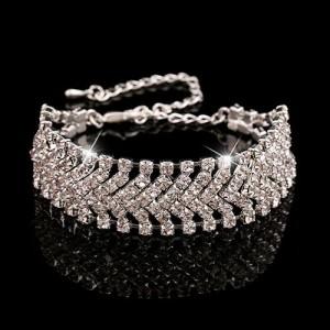 Блестящий браслет «Венчание» в виде широкой полосы из страз фото. Купить