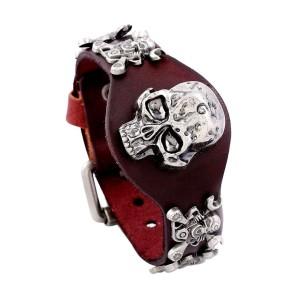 Экстравагантный кожаный браслет с металлическими черепами купить. Цена 225 грн